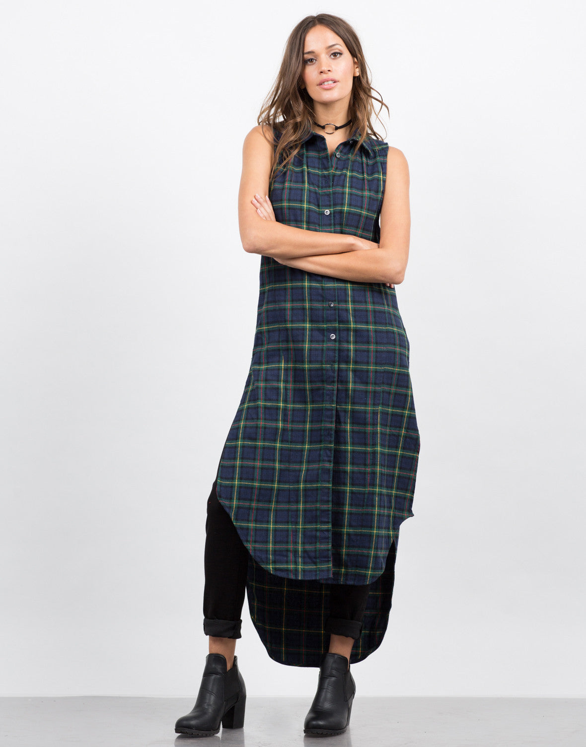 Front View of Plaid Shirt Dress