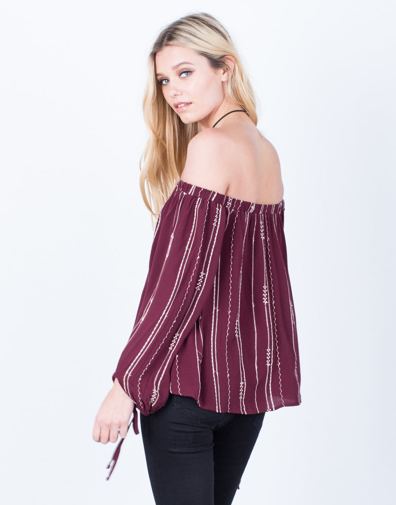 Back View of Playful Off-the-Shoulder Blouse
