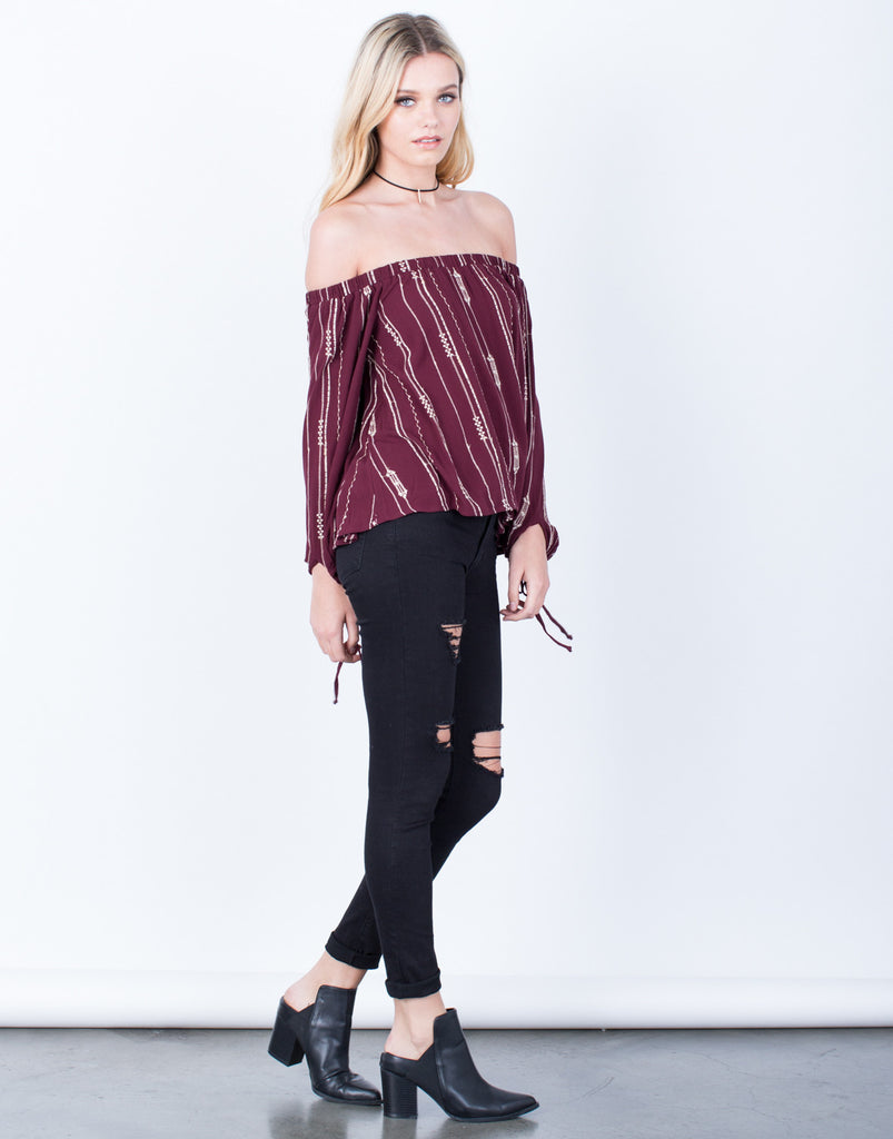 Side View of Playful Off-the-Shoulder Blouse