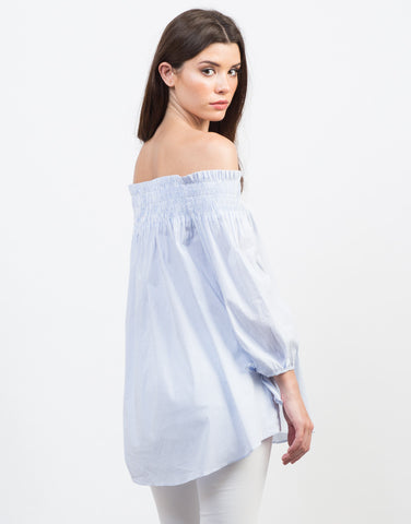 Back View of Playful Pin Striped Off-the-Shoulder Top