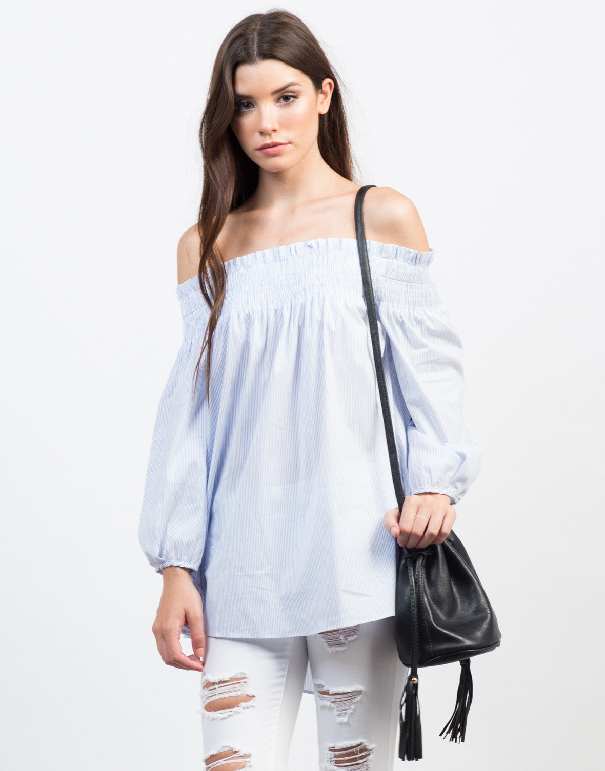 Front View of Playful Pin Striped Off-the-Shoulder Top