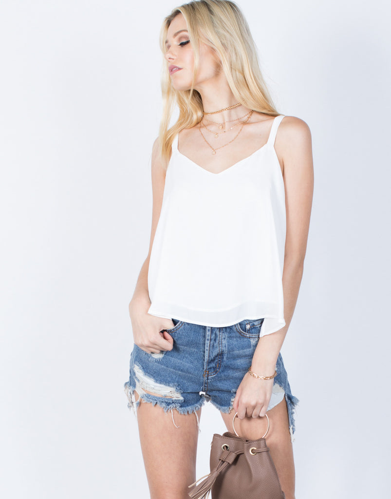 Front View of Playful Shoulder Ties Tank