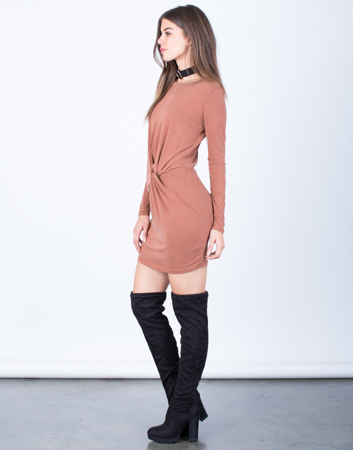 Side View of Playin' it Cool Knotted Dress