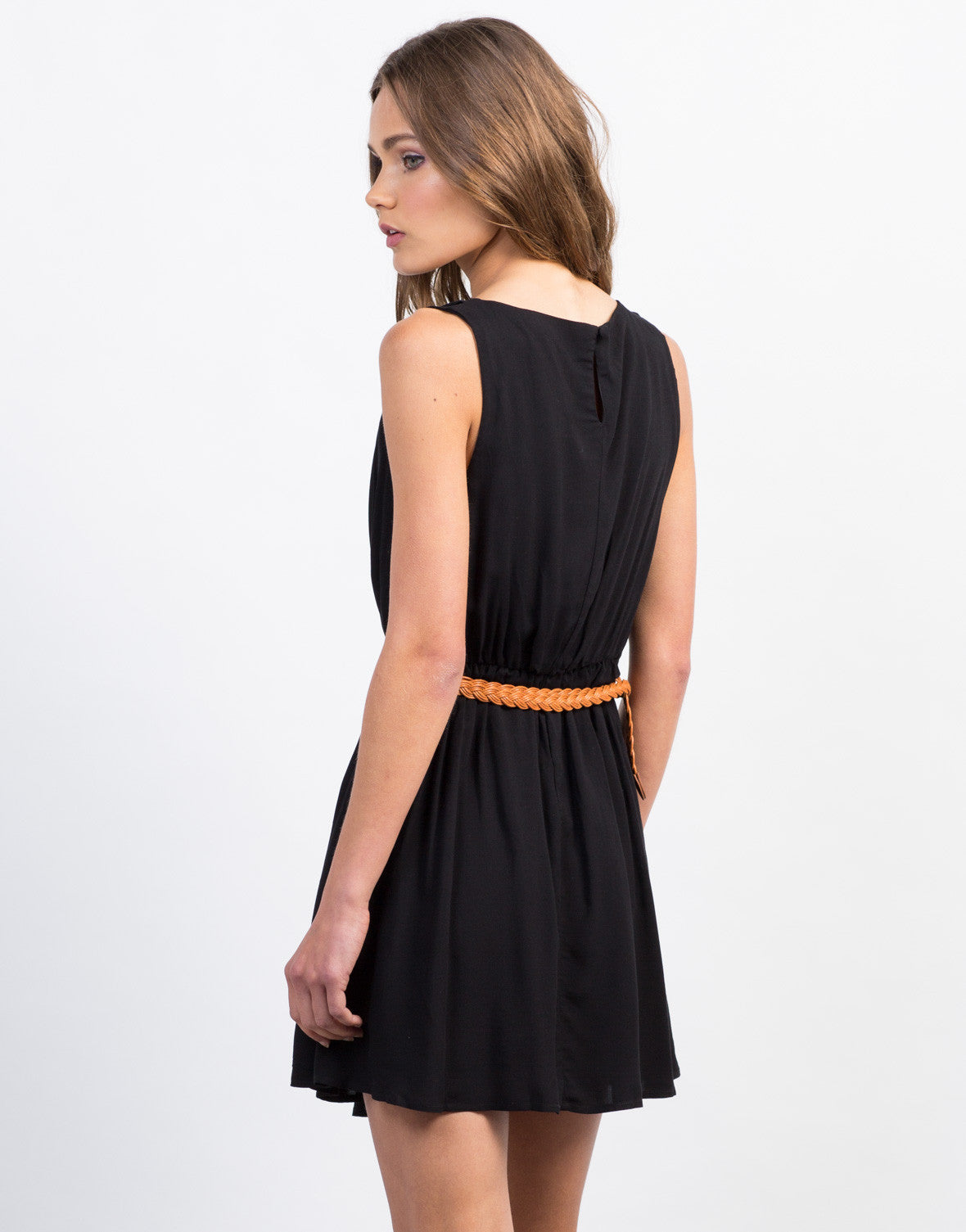Back View of Pleated Belted Day Dress
