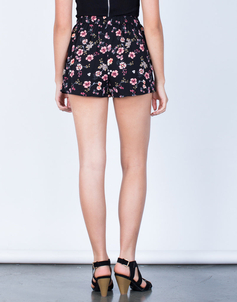 Back View of Pleated Floral Shorts
