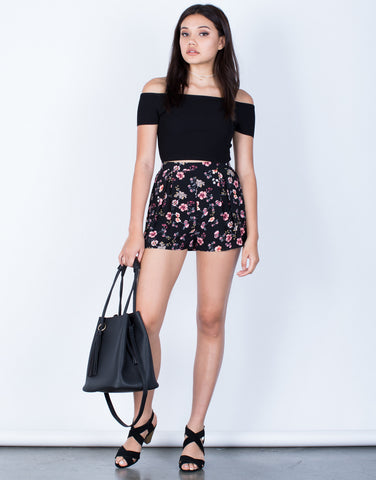 Front View of Pleated Floral Shorts