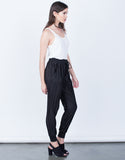 Side View of Pleated Jogger Pants