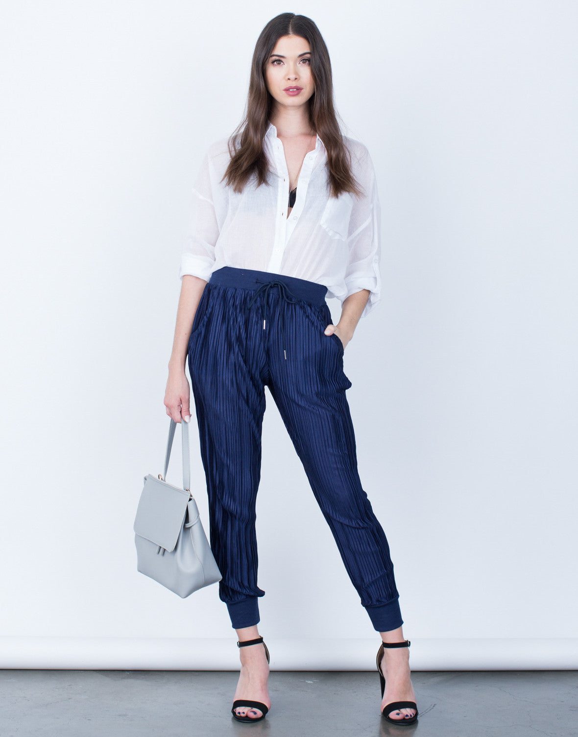 Front View of Pleated Jogger Pants