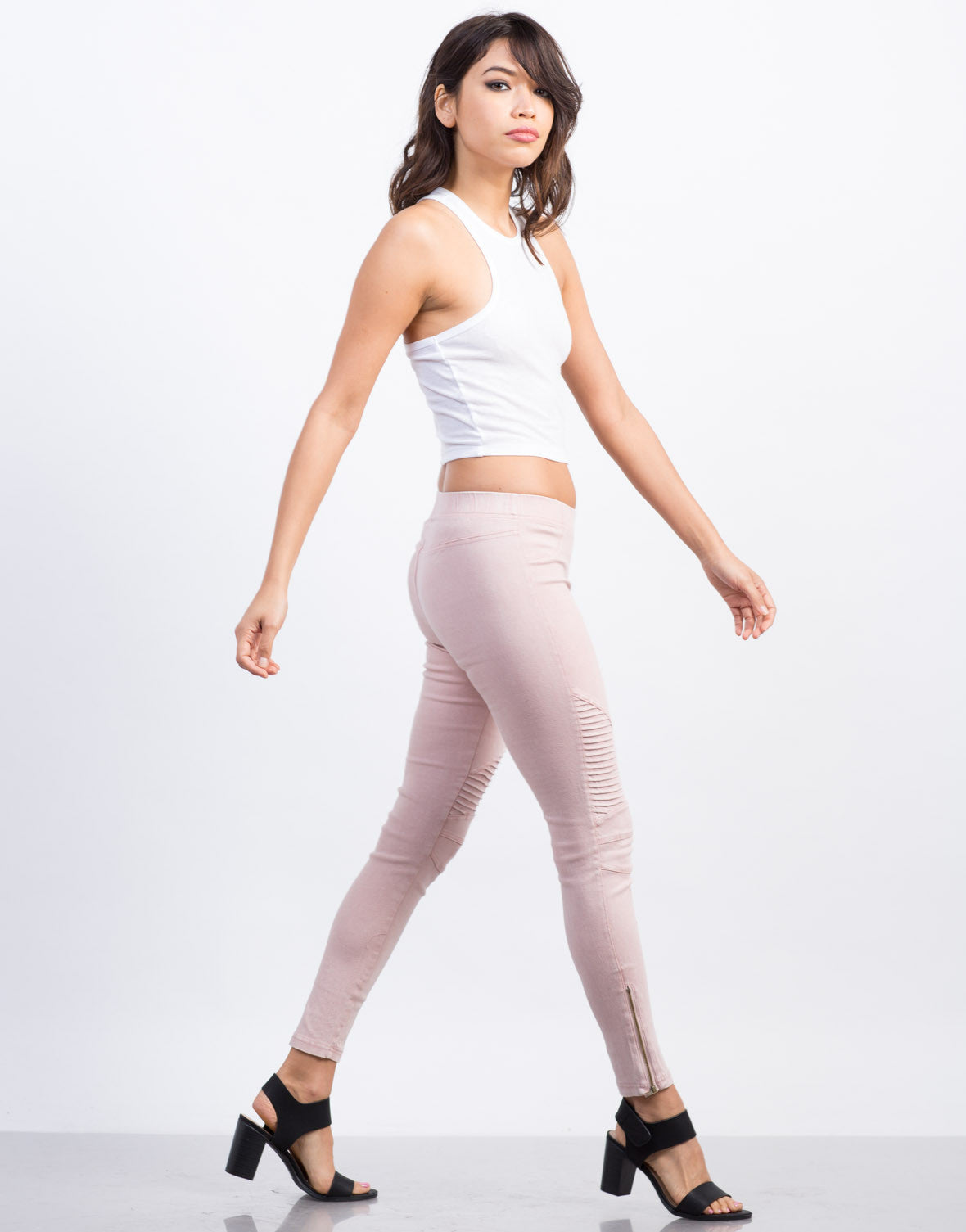 Side View of Pleated Moto Leggings