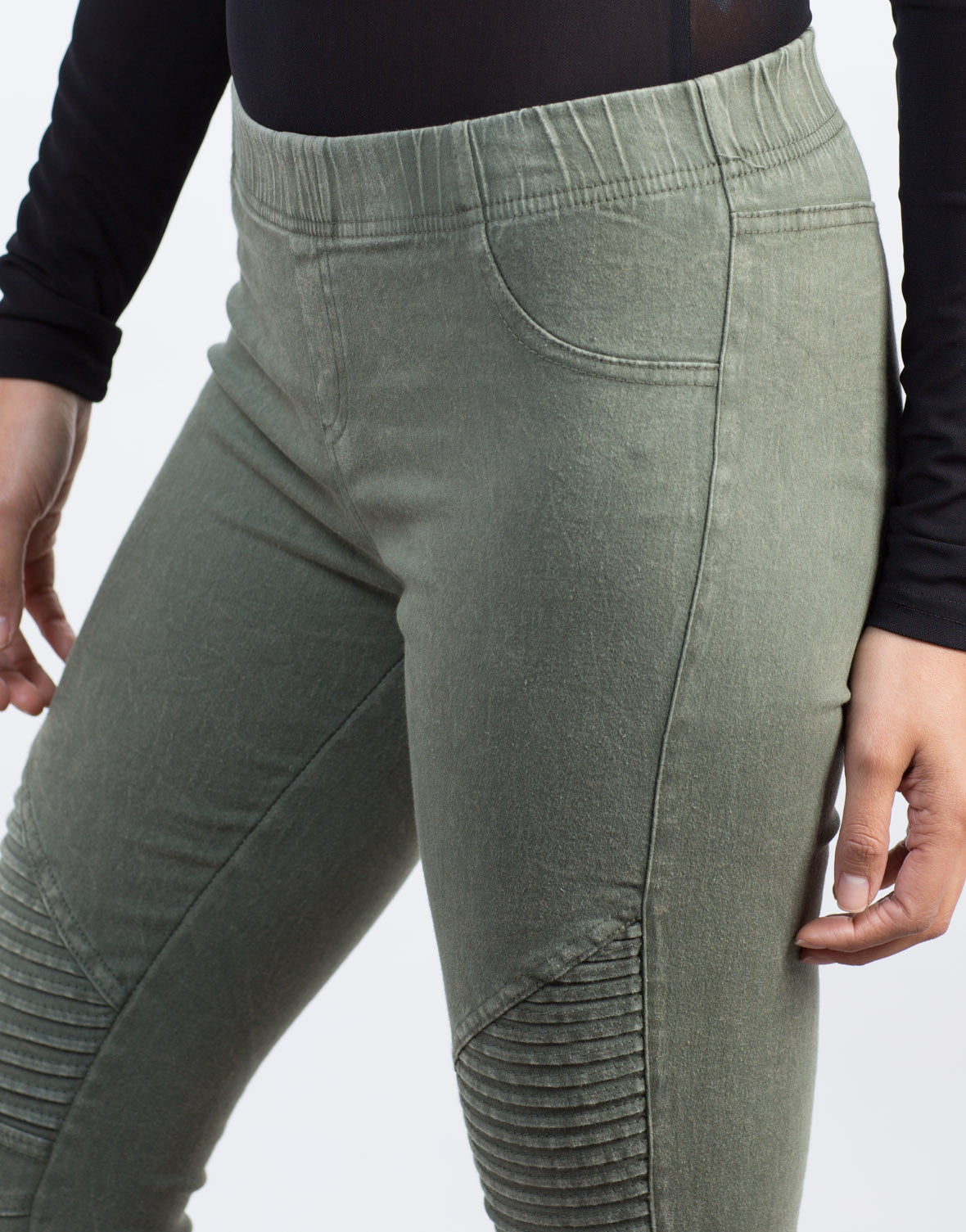 Detail of Pleated Moto Leggings