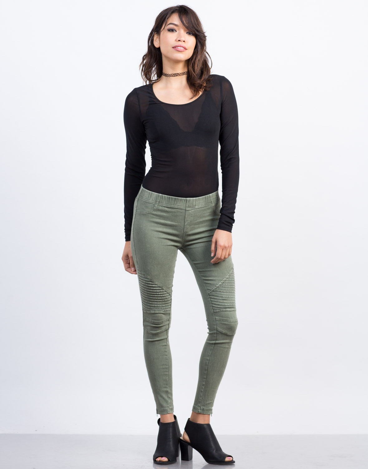 Front View of Pleated Moto Leggings