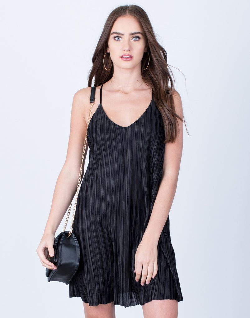 Front  View of Pleated Slip Dress
