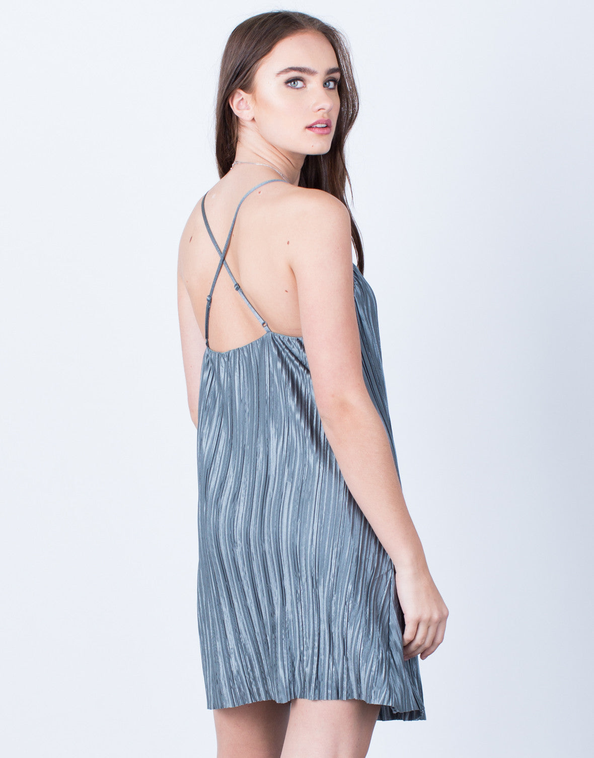 Back View of Pleated Slip Dress