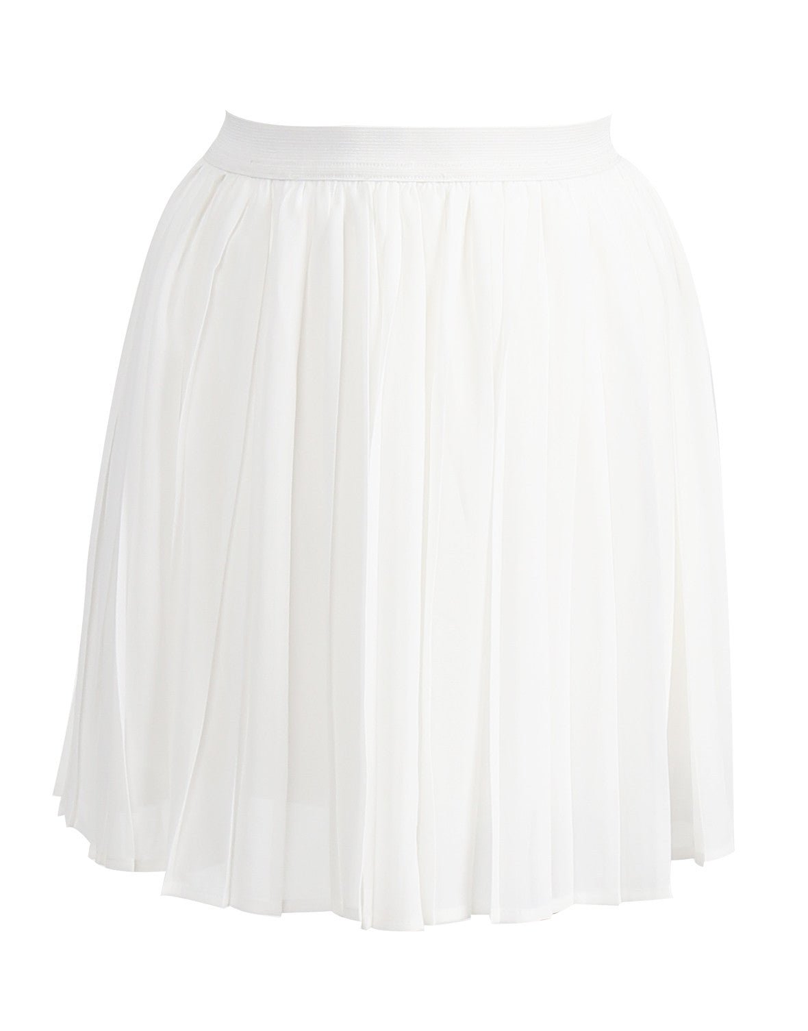 Pleated Flowy Mini Skirt - White - Medium - 2020AVE