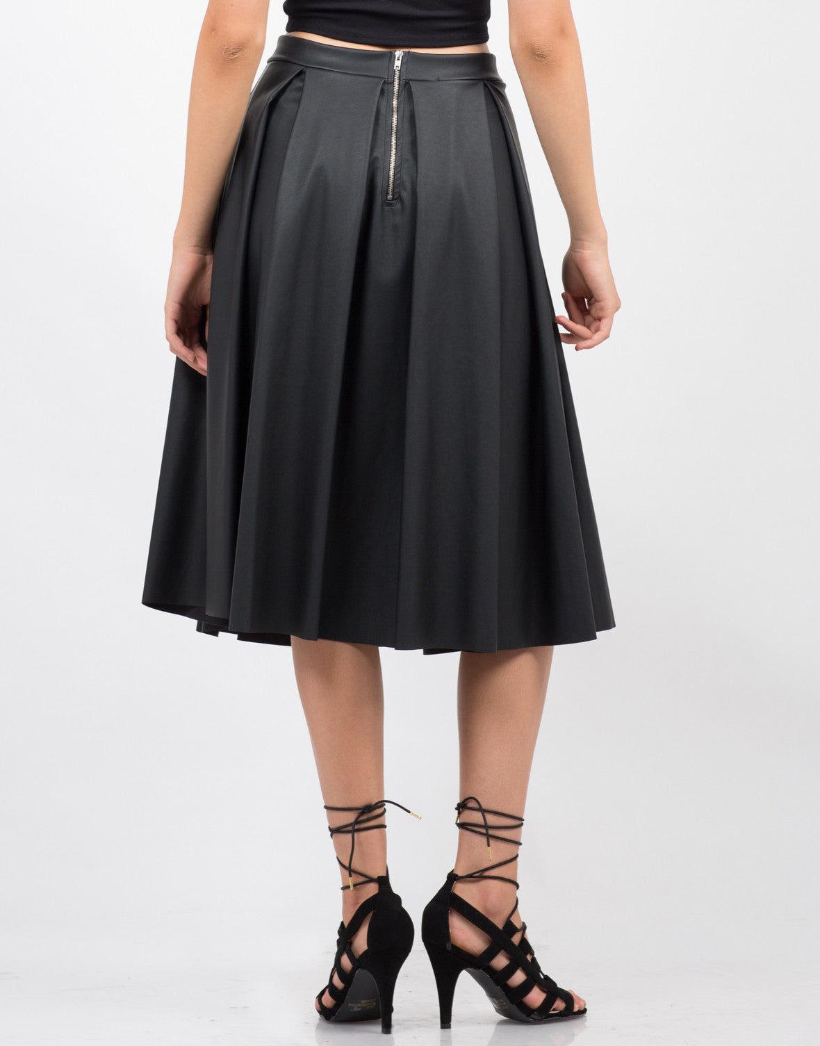 Back View of Pleated Leather Midi Skirt