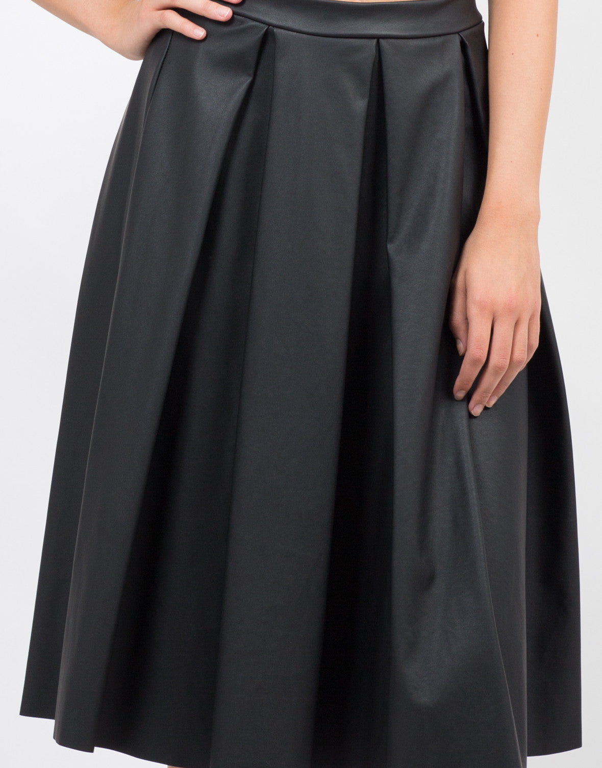 Detail of Pleated Leather Midi Skirt