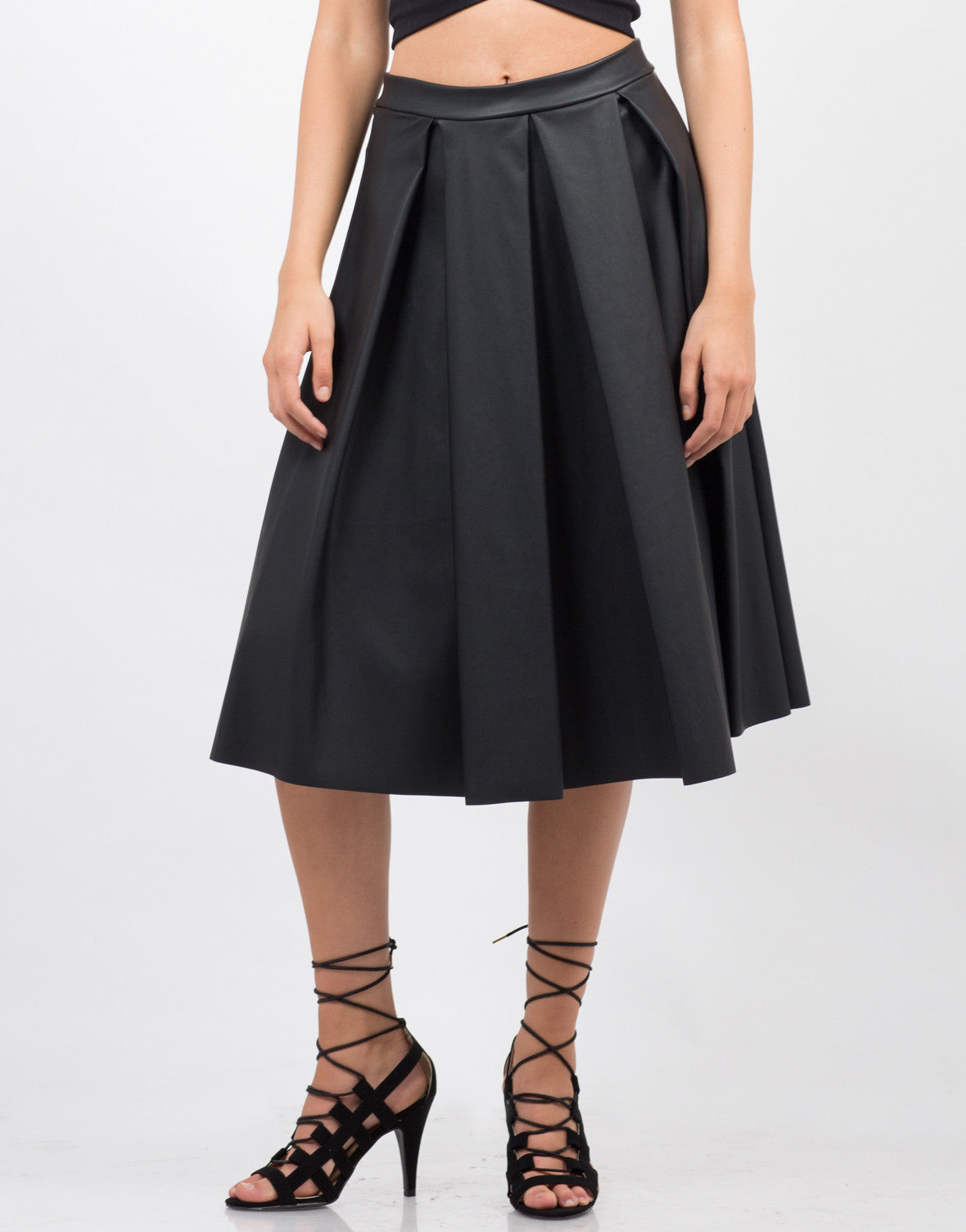 Front View of Pleated Leather Midi Skirt
