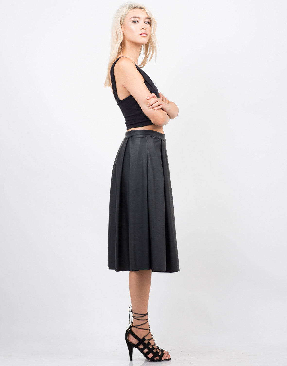 Side View of Pleated Leather Midi Skirt