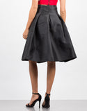 Back View of Pleated Nylon A-Line Skirt
