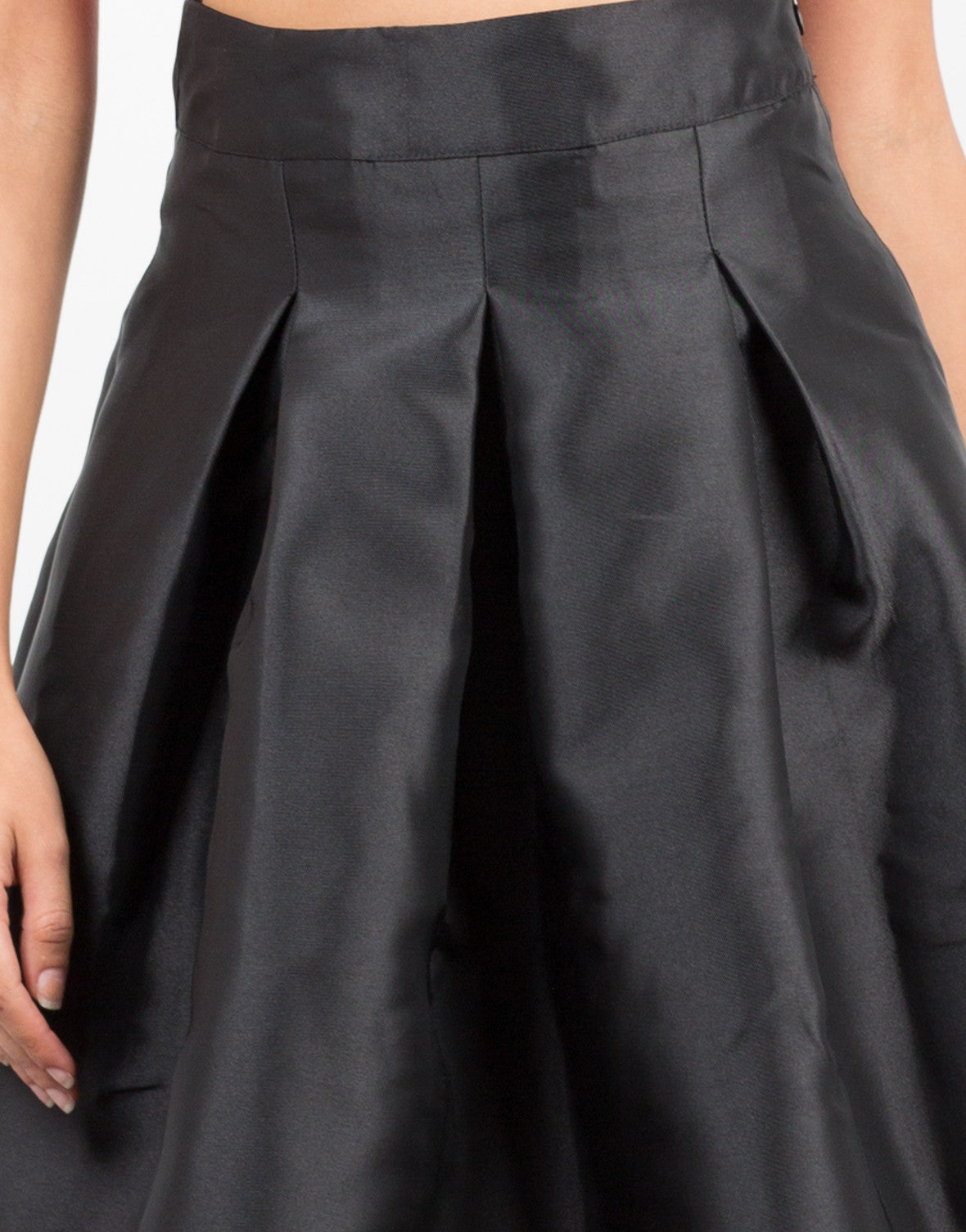 Detail of Pleated Nylon A-Line Skirt