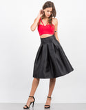 Front View of Pleated Nylon A-Line Skirt