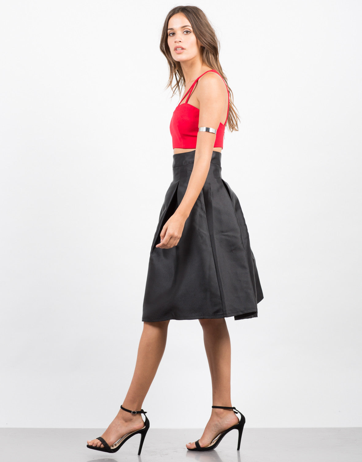 Side View of Pleated Nylon A-Line Skirt
