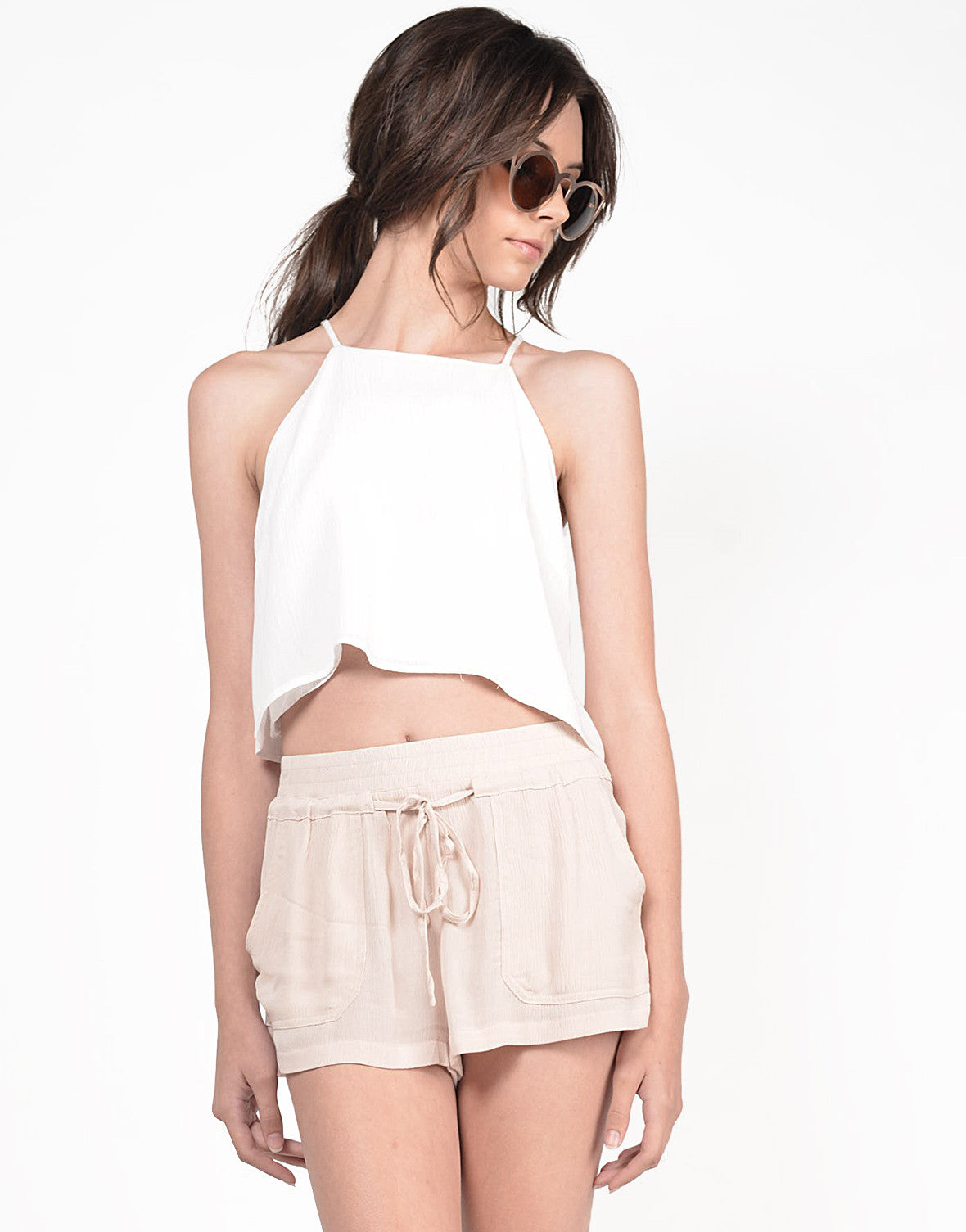 Front View of Pleated Rayon Pocket Shorts