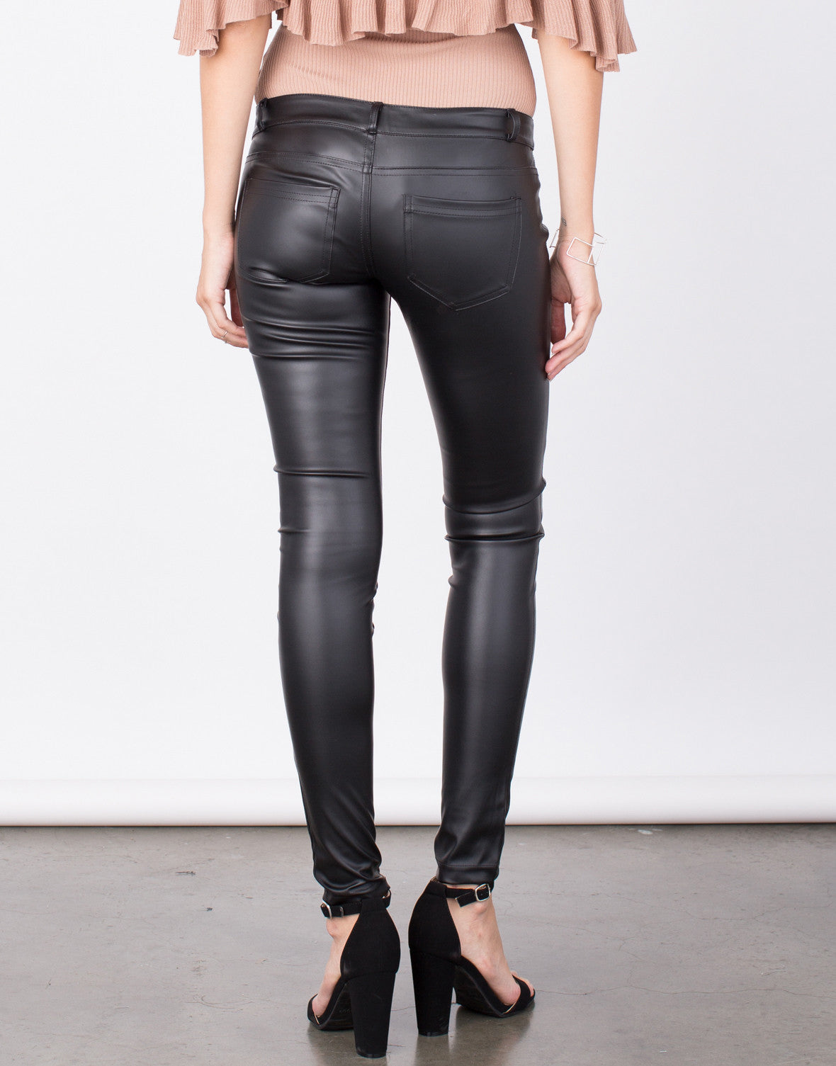 Back View of Pleather Skinny Pants