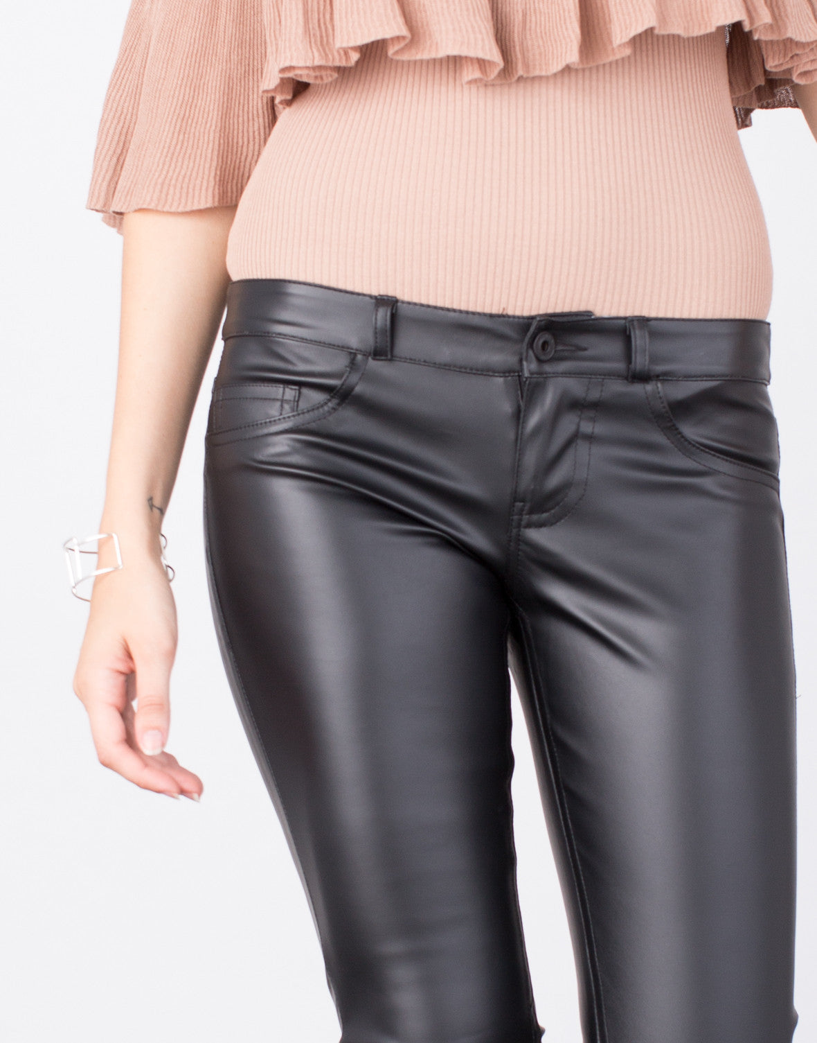 Detail of Pleather Skinny Pants