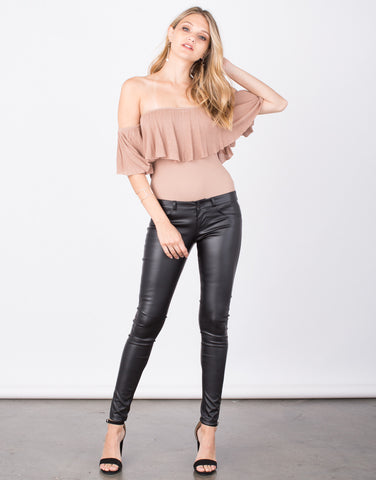 Front View of Pleather Skinny Pants