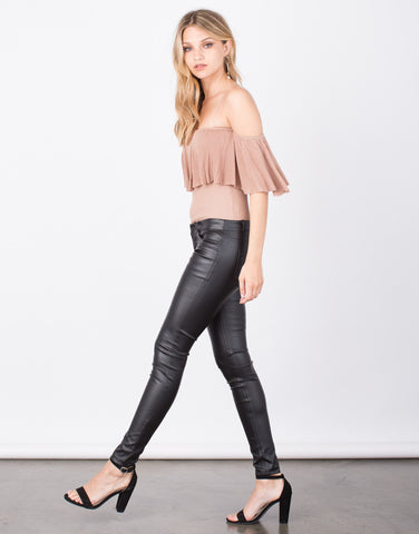 Side View of Pleather Skinny Pants