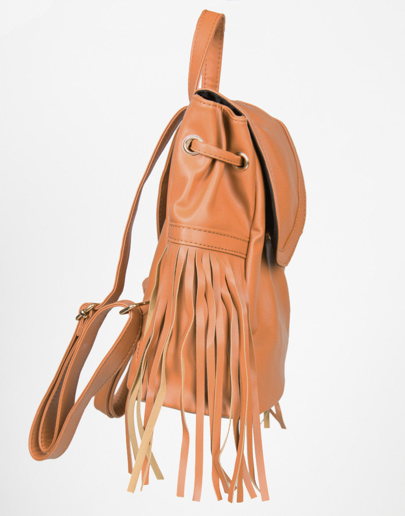 Side View of Pleater Mini Fringe Backpack