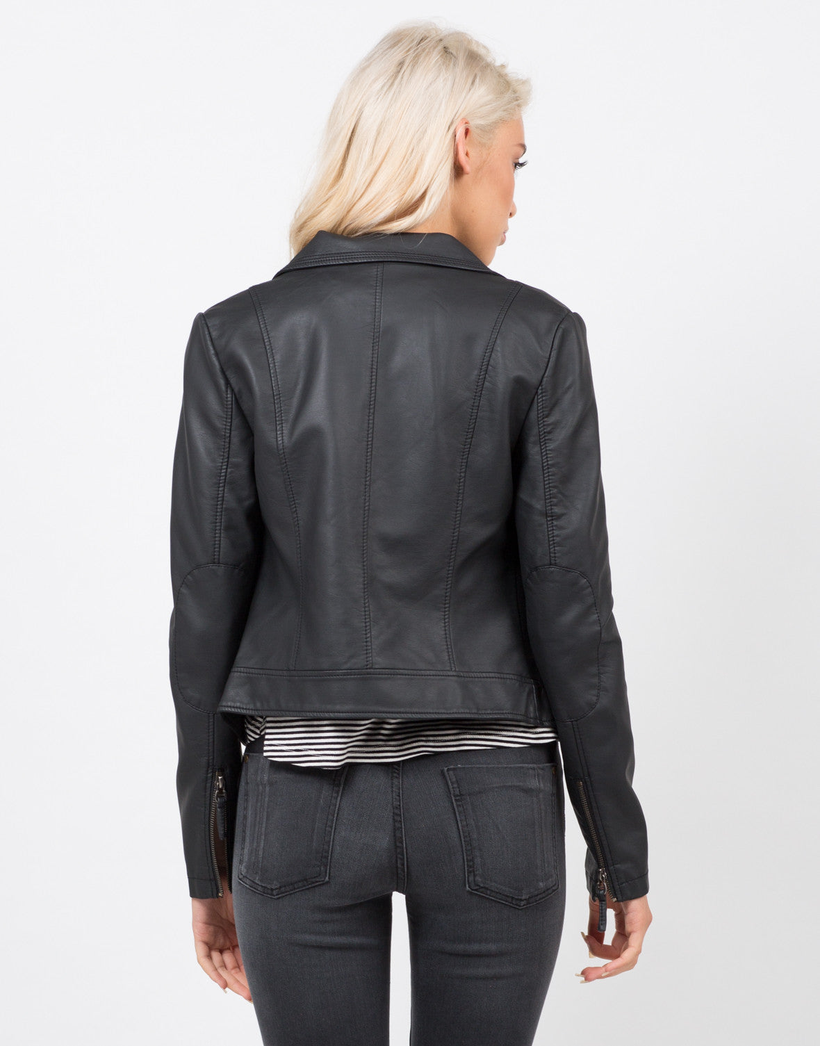 Back View of Pleather Moto Jacket