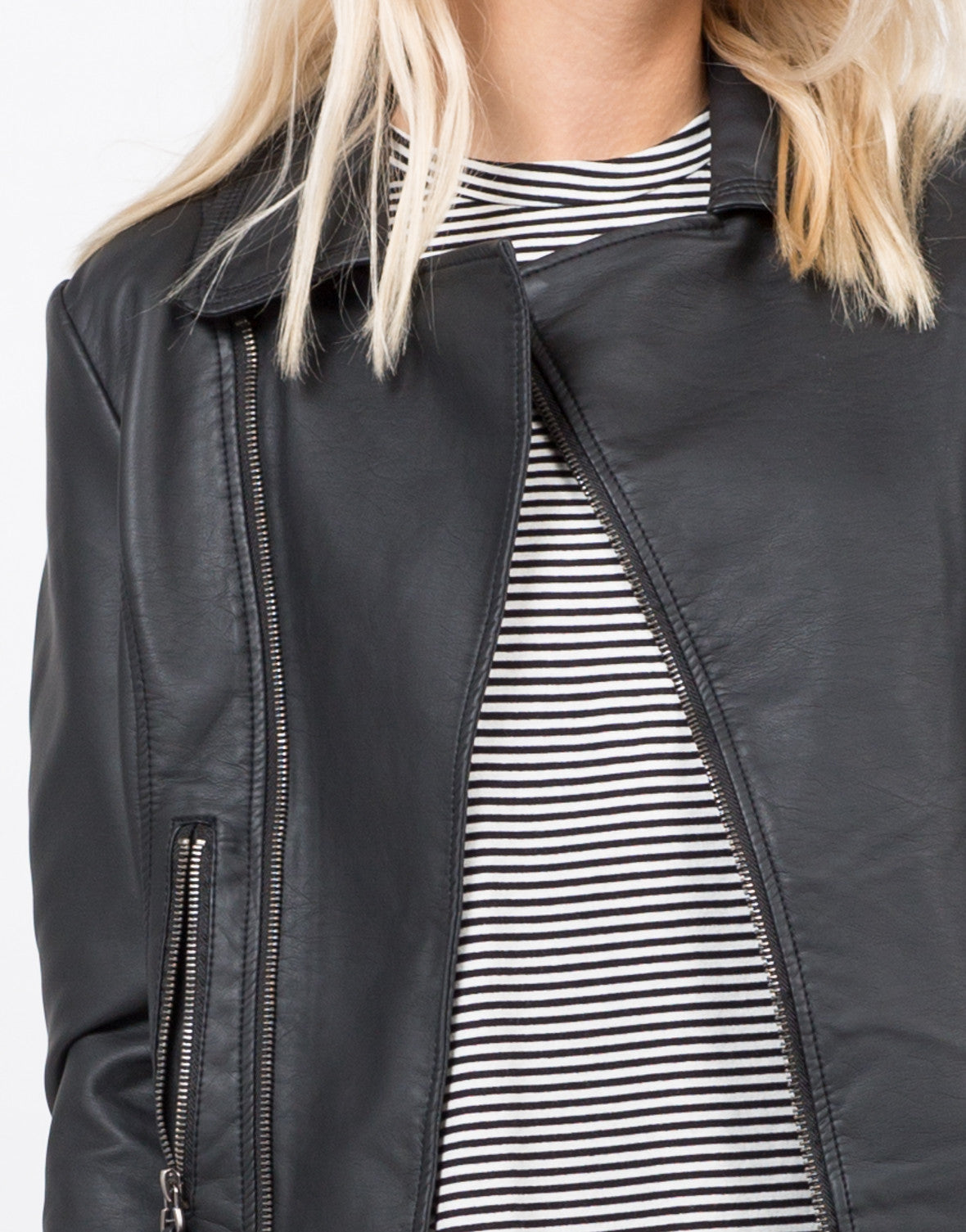 Detail of Pleather Moto Jacket