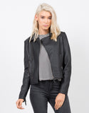 Front View of Pleather Moto Jacket