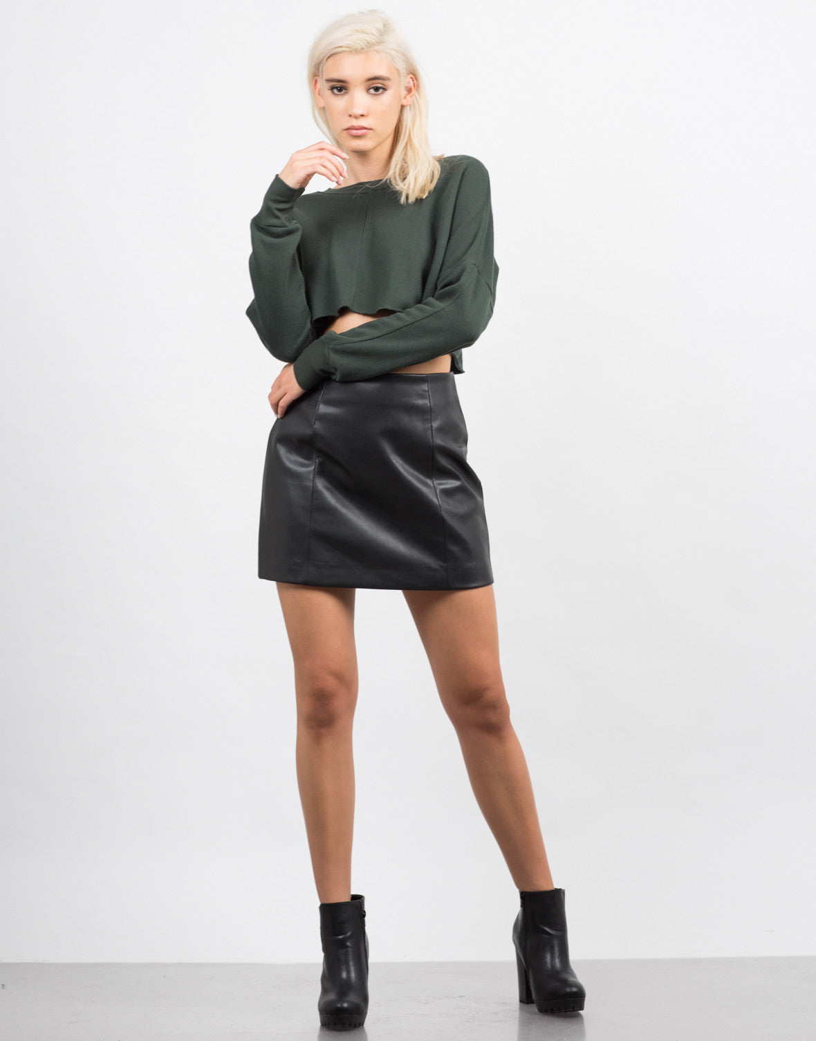 Front View of Pleather Skater Skirt