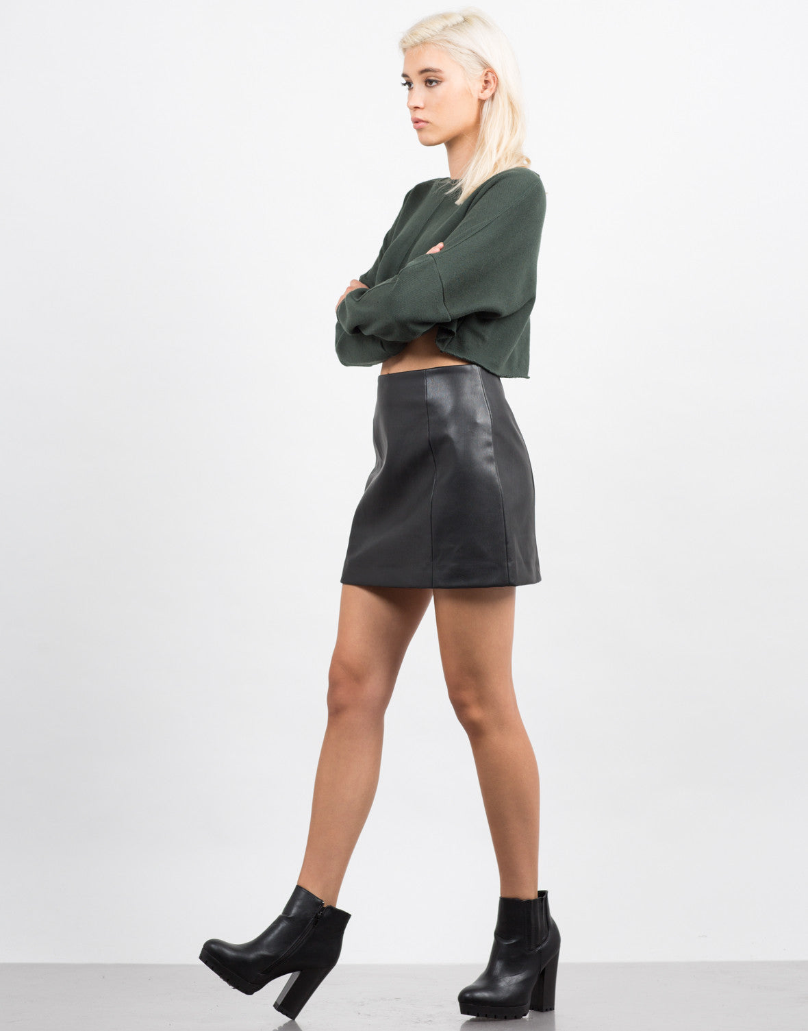 Side View of Pleather Skater Skirt