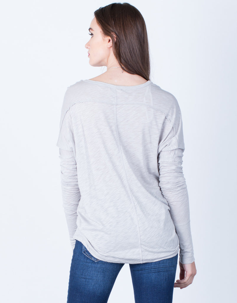 Back View of Plunging Buttoned Top