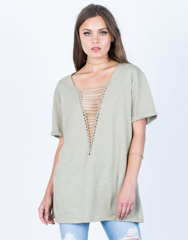 Front View of Plunging Caged Tunic