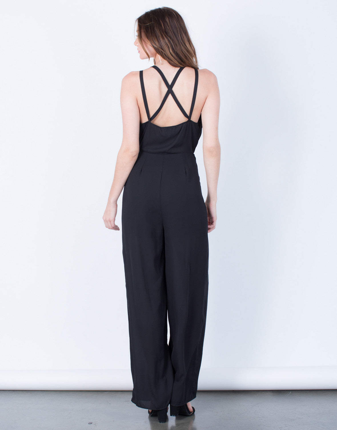 Back View of Plunging Chiffon Jumpsuit