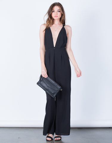 Front View of Plunging Chiffon Jumpsuit