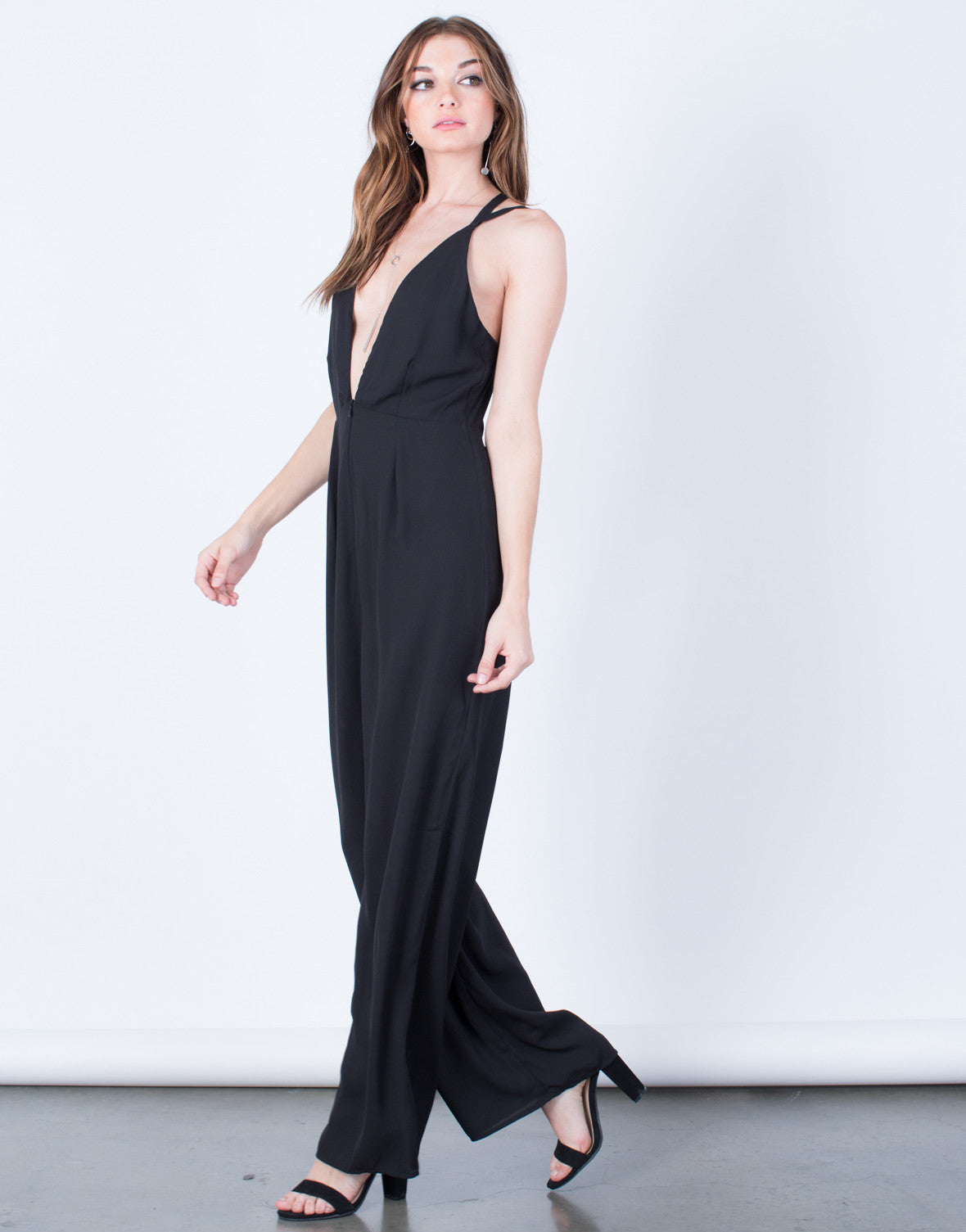 Side View of Plunging Chiffon Jumpsuit