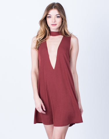 Plunging Choker Dress - 2020AVE
