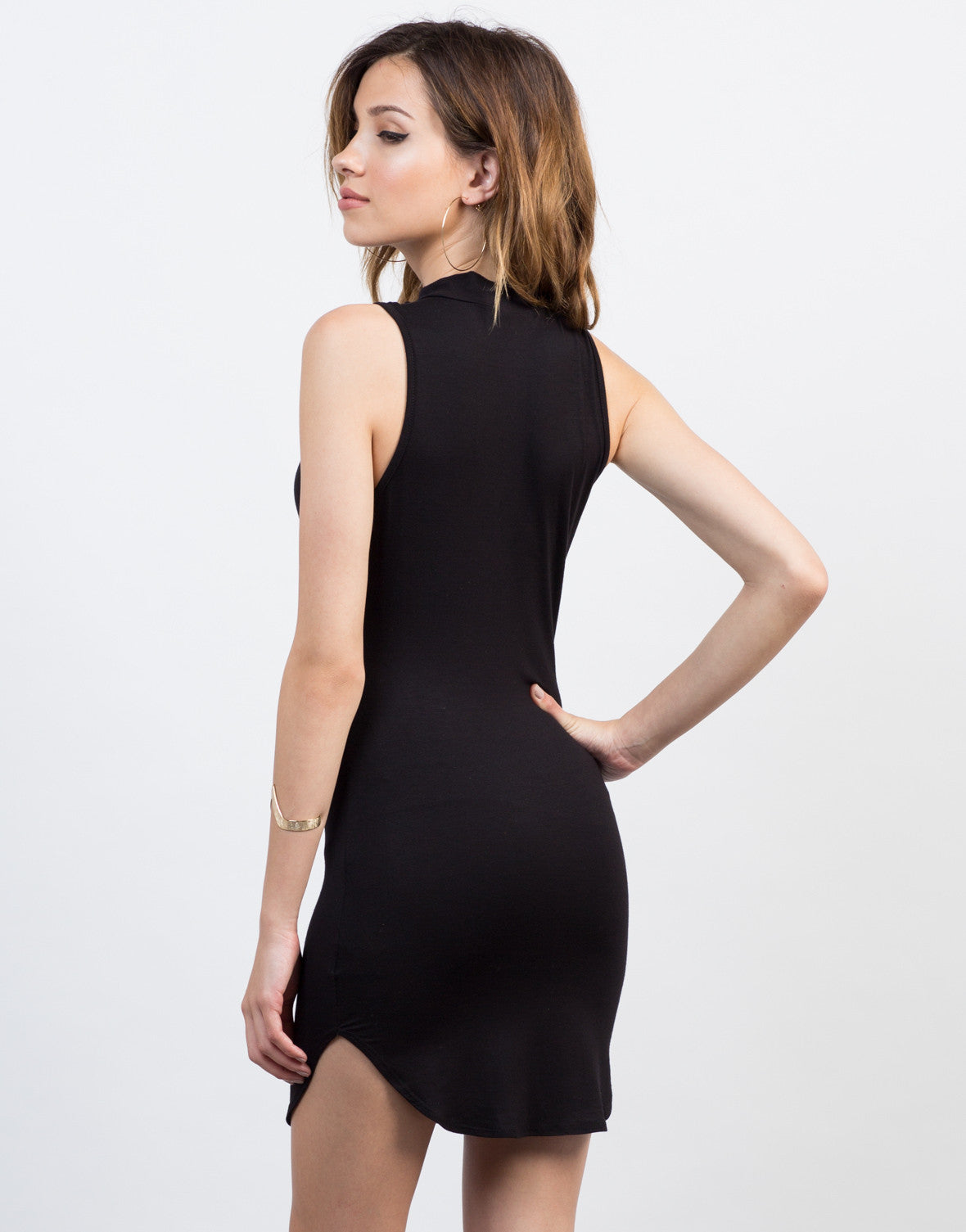 Back View of Plunging Choker Party Dress