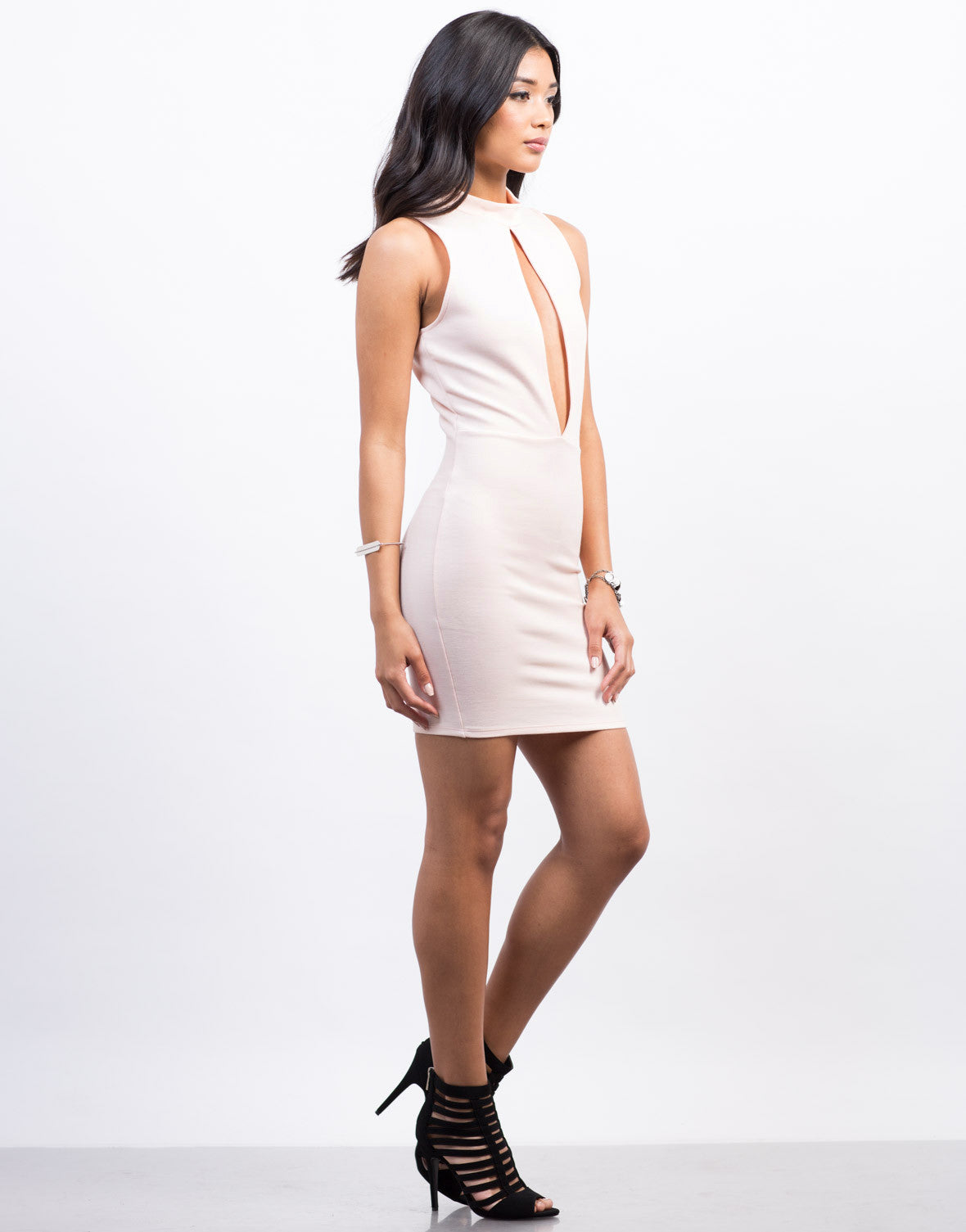 Side View of Plunging Cut Out Dress