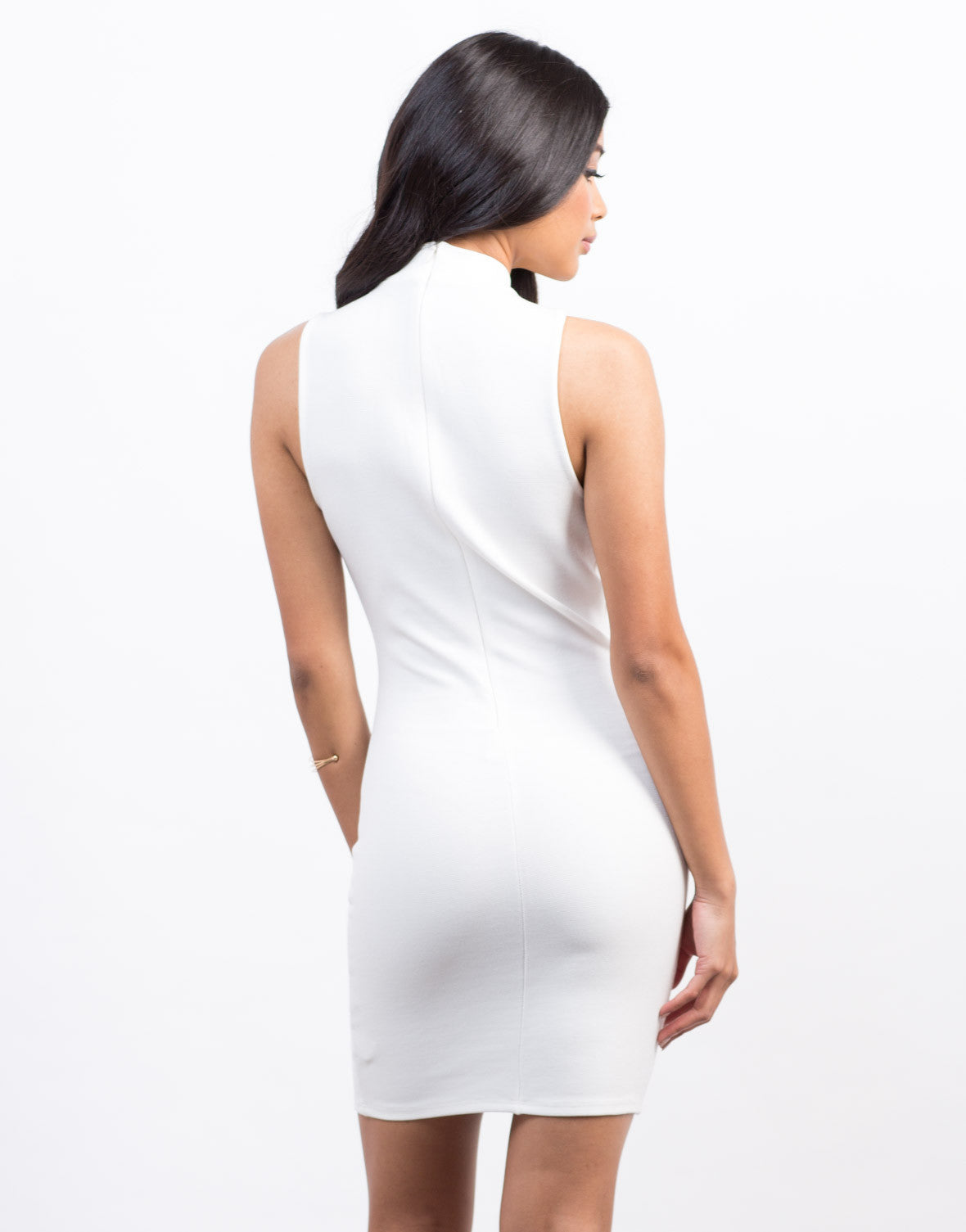 Back View of Plunging Cut Out Dress