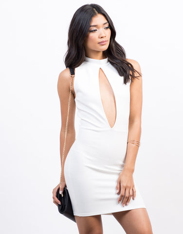 Front View of Plunging Cut Out Dress