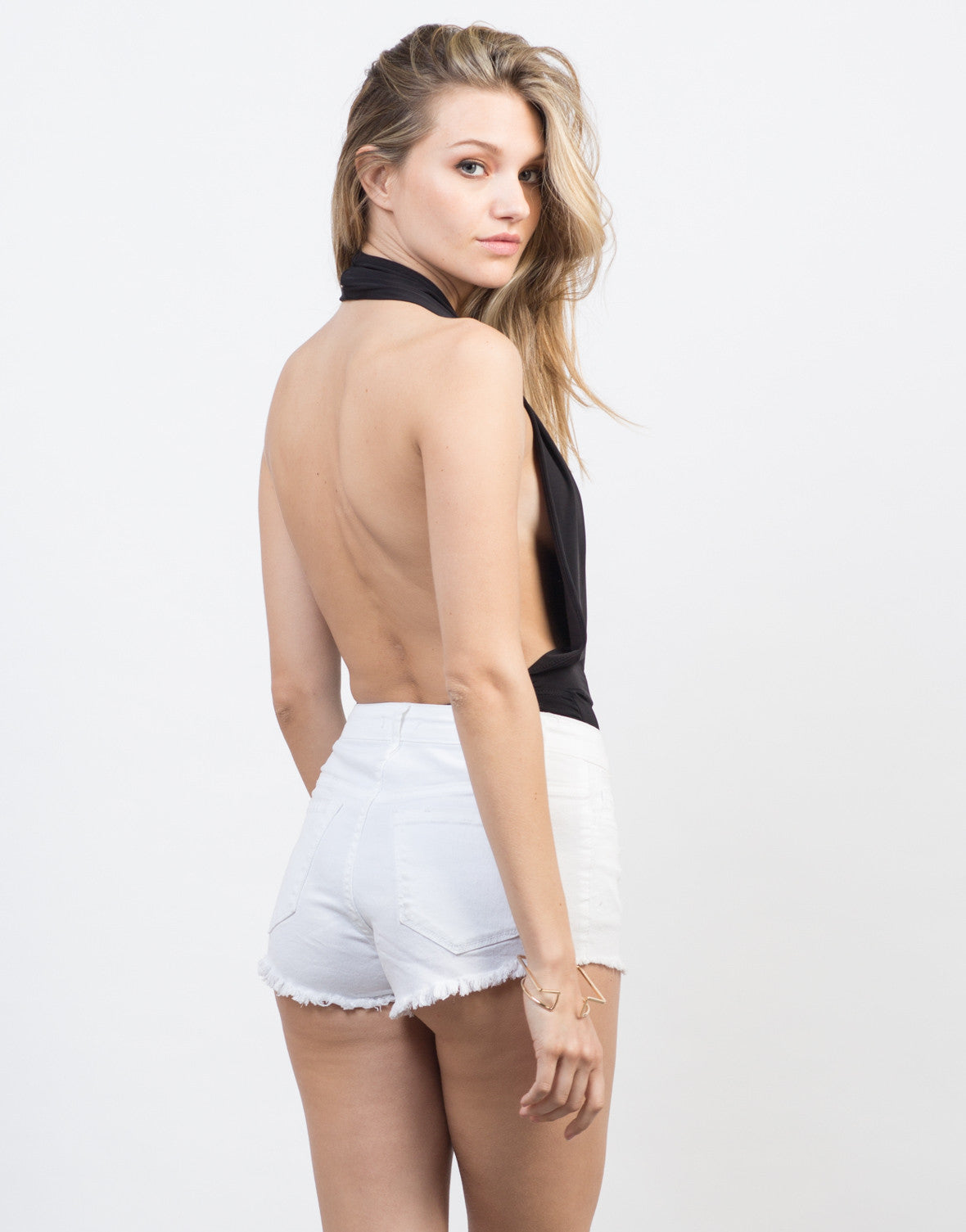 Back View of Plunging Halter Bodysuit
