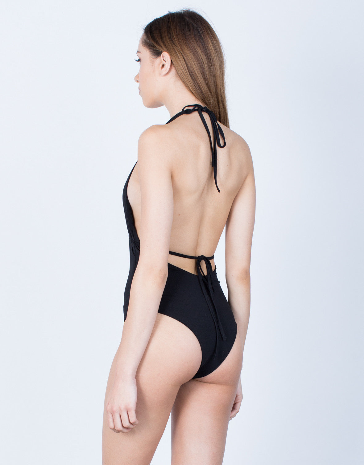 Back View of Plunging Halter Tied Bodysuit