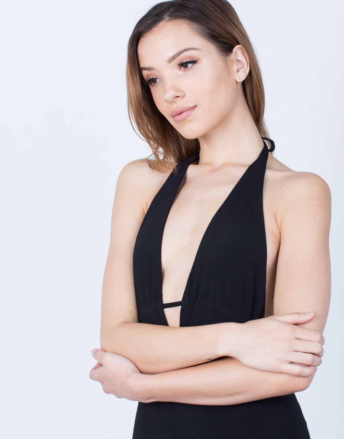 Detail of Plunging Halter Tied Bodysuit